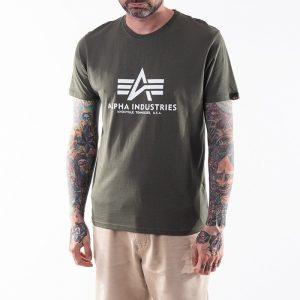 חולצת T אלפא אינדסטריז לגברים Alpha Industries Basic T-Shirt - ירוק