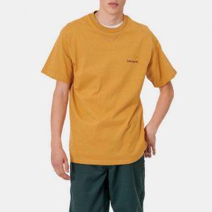 חולצת T קארהארט לגברים Carhartt WIP American Script - צהוב