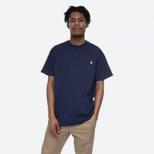 חולצת T קארהארט לגברים Carhartt WIP S/S American Script - כחול