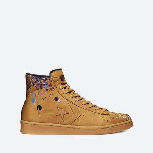 נעלי סניקרס קונברס לגברים Converse x Bandulu Pro Leather Mid - חום בהיר