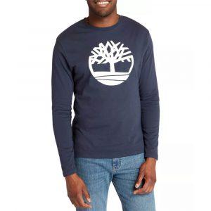 סווטשירט טימברלנד לגברים Timberland Tree Logo Ringer - כחול