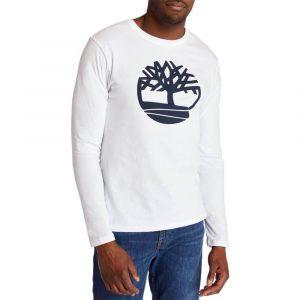 סווטשירט טימברלנד לגברים Timberland Tree Logo Ringer - לבן