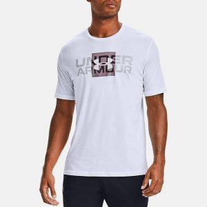 חולצת T אנדר ארמור לגברים Under Armour Box Logo Wordmark Ss - לבן
