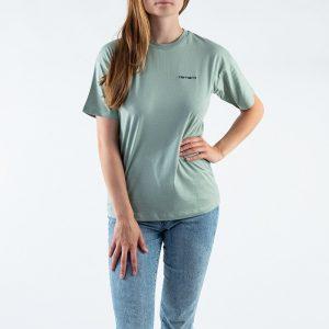 חולצת T קארהארט לנשים Carhartt WIP S/S Script Embroidery - ירוק