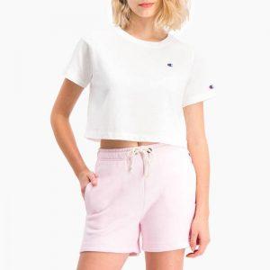חולצת T צ'מפיון לנשים Champion Crewneck Crop Top - לבן