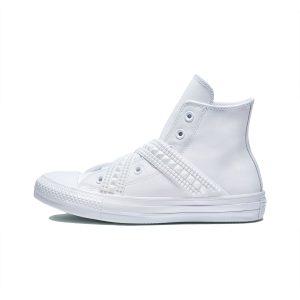 נעלי סניקרס קונברס לנשים Converse All Star Punk Strap - לבן
