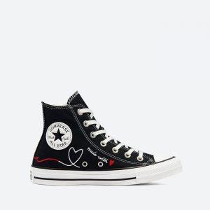 נעלי סניקרס קונברס לנשים Converse Chuck Taylor All Star Hi Vintage Valentines Day - שחור