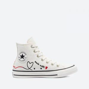 נעלי סניקרס קונברס לנשים Converse Chuck Taylor All Star Hi Vintage Valentines Day - לבן