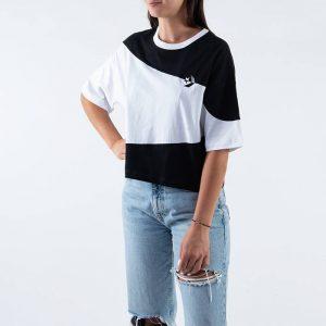 חולצת T קונברס לנשים Converse Rivalry Os Crop Tee - שחור/לבן