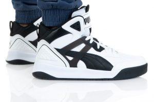 נעלי סניקרס פומה לגברים PUMA BACKCOURT MID - לבן/שחור