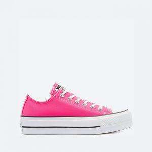 נעלי סניקרס קונברס לנשים Converse Chuck Taylor All Star Lift OX - לבן/ורוד