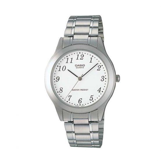 שעון קסיו לגברים CASIO MTP-1128A-1A - לבן/כסף