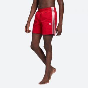 בגד ים אדידס לגברים Adidas Originals Adicolor Classics 3-Stripes Swim - אדום