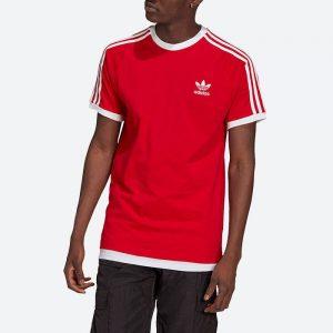 חולצת T אדידס לגברים Adidas Originals Adicolor Classics 3-Stripes Tee - אדום