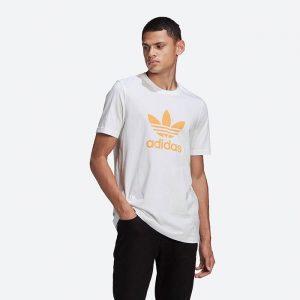 חולצת T אדידס לגברים Adidas Originals Adicolor Classics Trefoil Tee - לבן/כתום