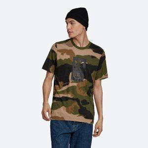 חולצת T אדידס לגברים Adidas Originals Camo Tongue Label Tee - חום הסוואה