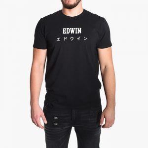 חולצת T Edwin לגברים Edwin Sunset - שחור הדפס