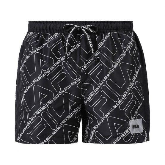 בגד ים פילה לגברים Fila All Over Logo Print - שחור