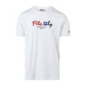 חולצת T פילה לגברים Fila Embroided Logo - לבן