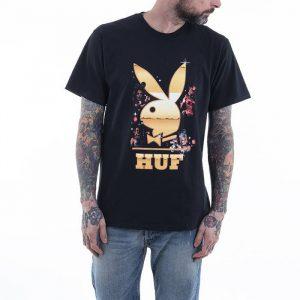 חולצת T HUF לגברים HUF x Playboy Club Tour S/S - שחור