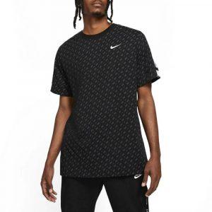 חולצת אימון נייק לגברים Nike Sportswear Repeat Print - שחור