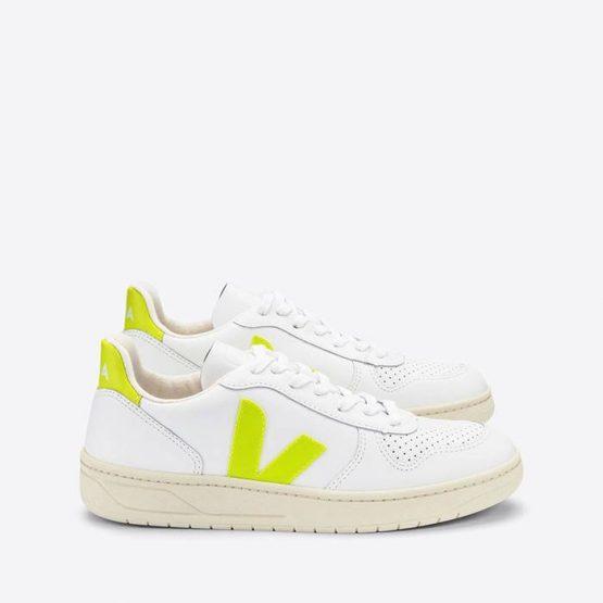 נעלי סניקרס ווג'ה לגברים Veja V-10 Leather - לבן/צהוב