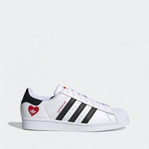 נעלי סניקרס אדידס לגברים Adidas Originals Superstar 2.0 Valentines Day - שחור/לבן