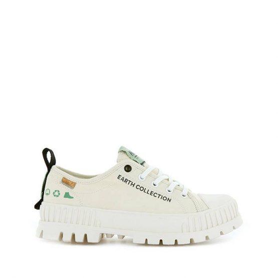 נעלי סניקרס פלדיום לגברים Palladium Pallashock Organic Metro Earth Collection Vegan - לבן