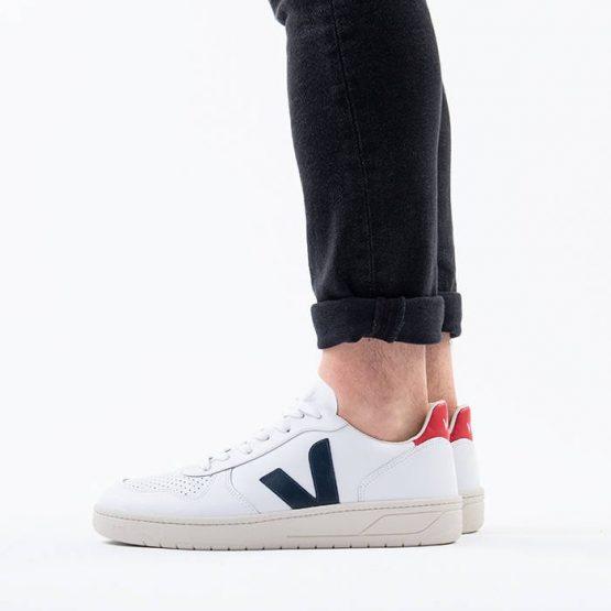 נעלי סניקרס ווג'ה לגברים Veja V-10 Leather Extra White Nautico Pekin - לבן