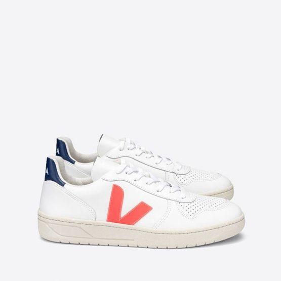נעלי סניקרס ווג'ה לגברים Veja V-10 Leather - לבן/ כחול