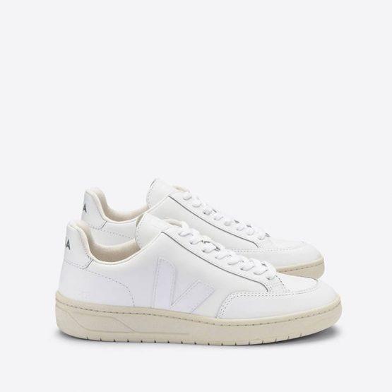 נעלי סניקרס ווג'ה לגברים Veja V-12 Leather - לבן