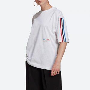 חולצת T אדידס לנשים Adidas Originals Adicolor Tricolor Oversize Tee - לבן