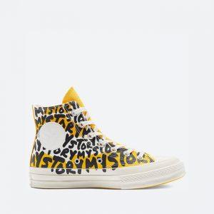 נעלי סניקרס קונברס לנשים Converse Chuck 70 Hi My Story - שחור/צהוב