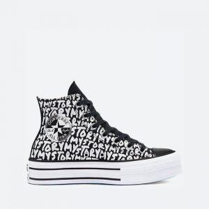 נעלי סניקרס קונברס לנשים Converse Chuck Taylor All Star Platform Hi My Story - שחור/לבן