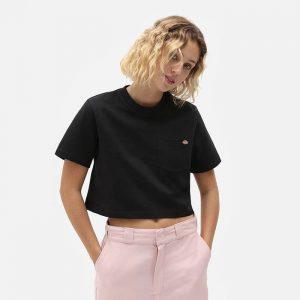 חולצת T Dickies לנשים Dickies SS Porterdale Crop - שחור