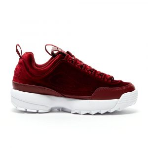 נעלי סניקרס פילה לנשים Fila Disruptor II Premium Velour - אדום