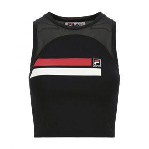 טופ וחולצת קרופ פילה לנשים Fila Stripe - שחור