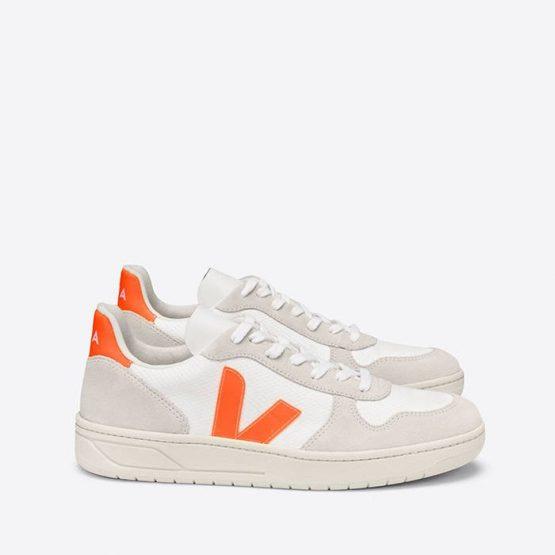 נעלי סניקרס ווג'ה לנשים Veja V-10 B-Mesh - לבן/כתום