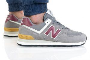 נעלי סניקרס ניו באלאנס לגברים New Balance ML574 - אפור/אדום