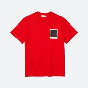 חולצת T לקוסט לגברים LACOSTE x Polaroid - אדום