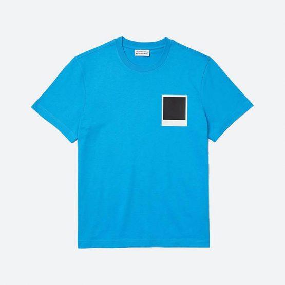 חולצת T לקוסט לגברים LACOSTE x Polaroid - כחול