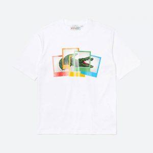 חולצת T לקוסט לגברים LACOSTE x Polaroid - לבן
