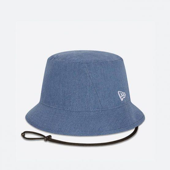 כובע ניו ארה לגברים New Era Wash Denim Bucket - כחול