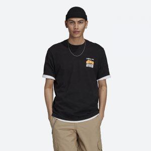 חולצת T אדידס לגברים Adidas Originals Adventure Mountain Back Tee - שחור