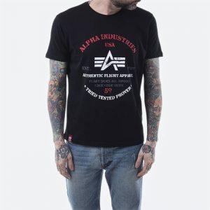 חולצת T אלפא אינדסטריז לגברים Alpha Industries Authentic Print Tee - שחור
