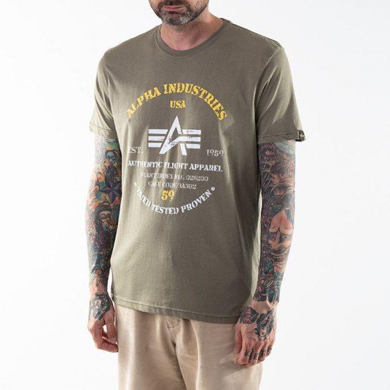 חולצת T אלפא אינדסטריז לגברים Alpha Industries Authentic Print - ירוק
