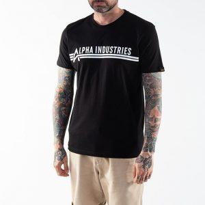 חולצת T אלפא אינדסטריז לגברים Alpha Industries Backprint - שחור