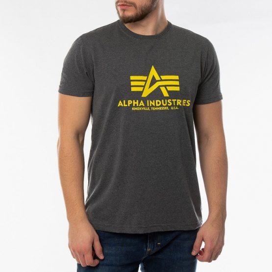 חולצת T אלפא אינדסטריז לגברים Alpha Industries Basic T-shirt - אפור כהה