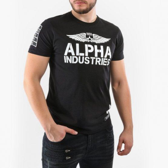 חולצת T אלפא אינדסטריז לגברים Alpha Industries Rebel - שחור