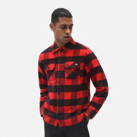 חולצה מכופתרת Dickies לגברים Dickies SS New Sacramento - שחור/אדום